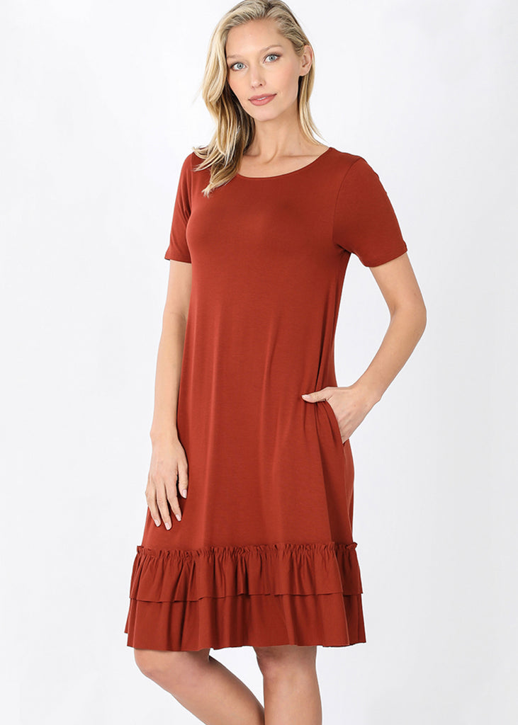 The Harper Ruffled Hem Dress | Dark Rust - Cozy Cottontail