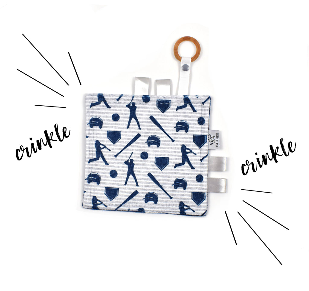Crinkle Taggy | Baseball Stripes - Cozy Cottontail