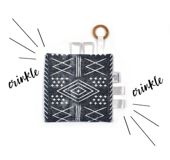 Crinkle Taggy | Black Moroccan Mudcloth - Cozy Cottontail
