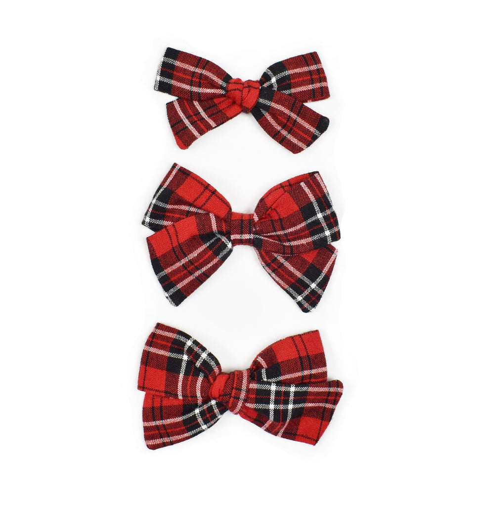 Red + Black + White Plaid Bows - Cozy Cottontail