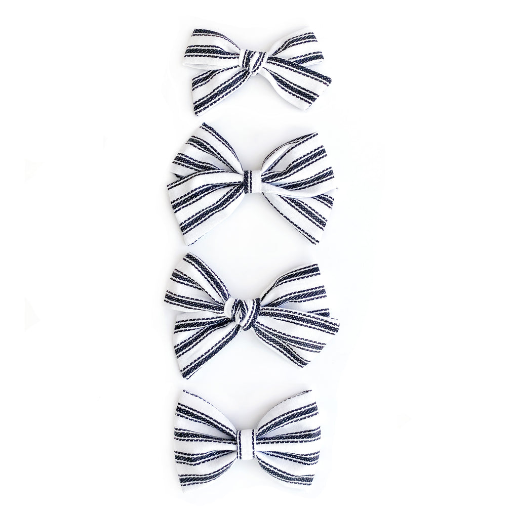 Black + White Stripe Bows - Cozy Cottontail