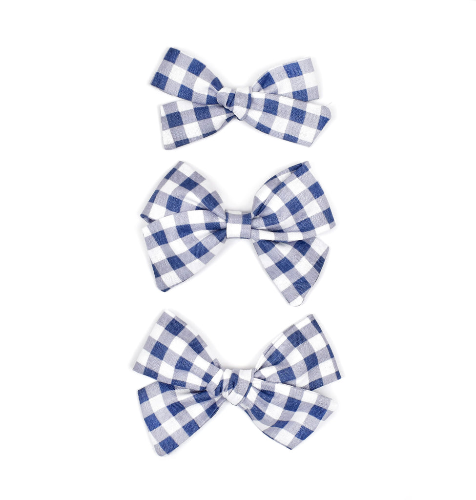 Blue Gingham Plaid Bows - Cozy Cottontail