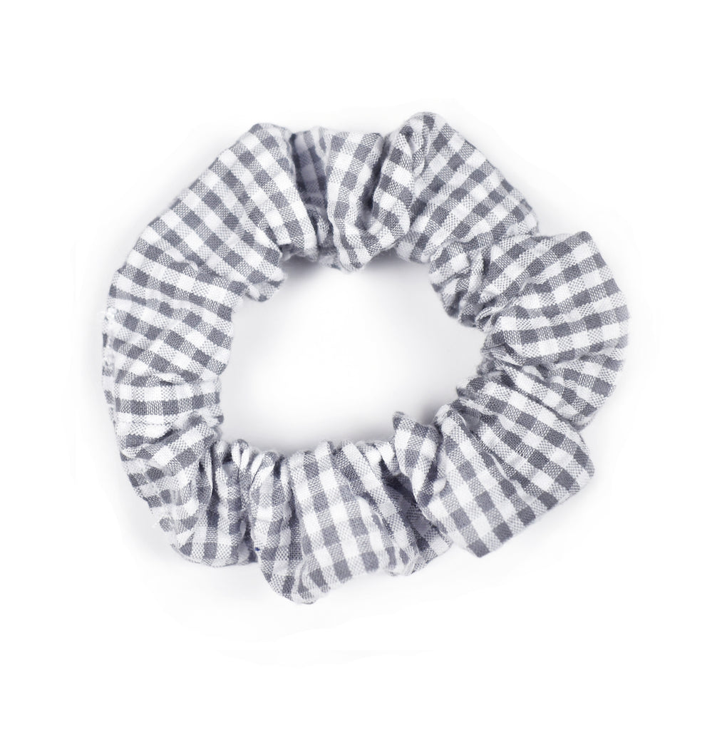 Hair Scrunchie | Gray Gingham - Cozy Cottontail