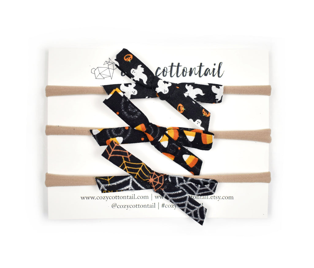Set of 3 Halloween Bows - Cozy Cottontail