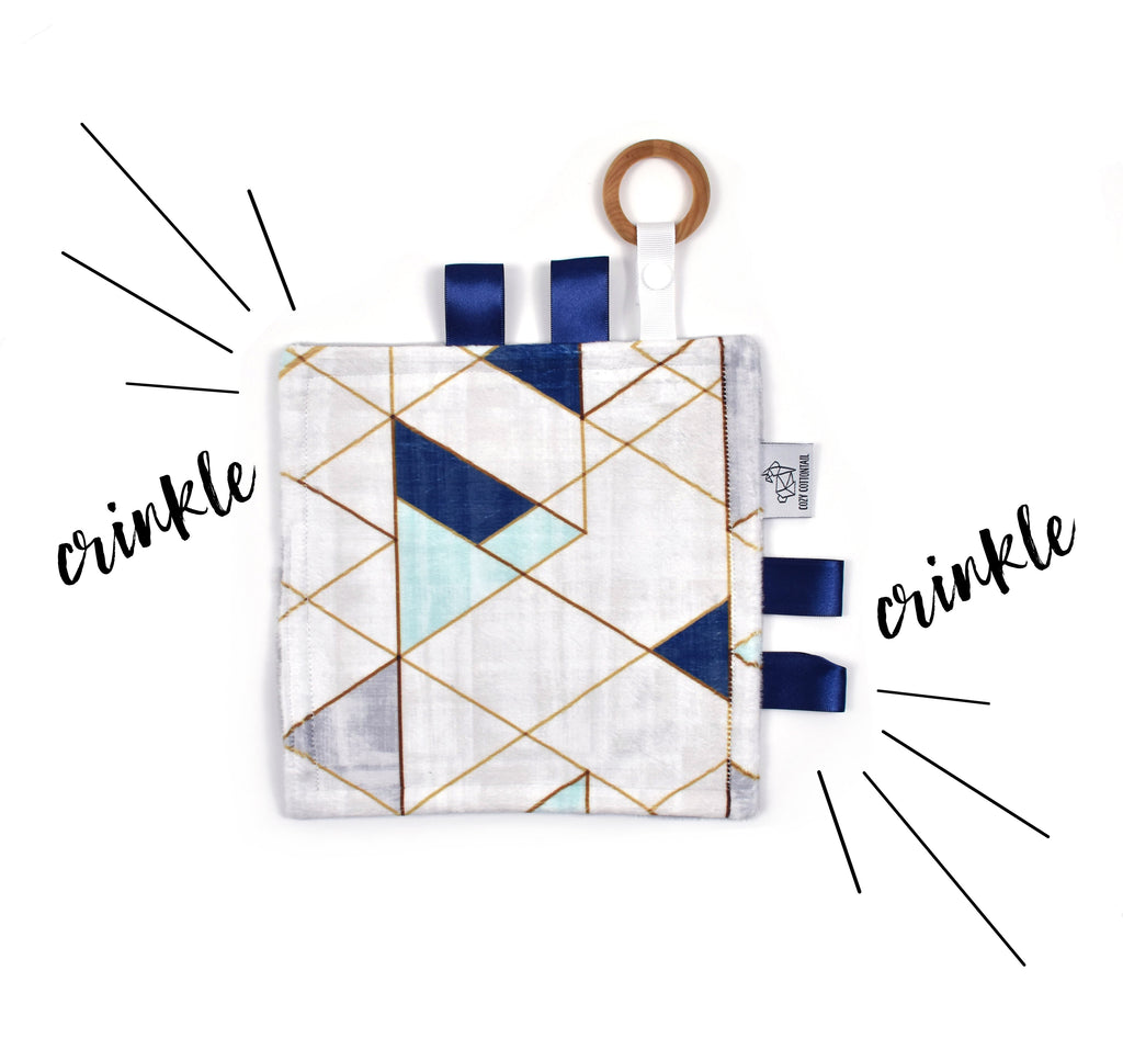 Crinkle Taggy | Mint Navy Mod Triangle - Cozy Cottontail