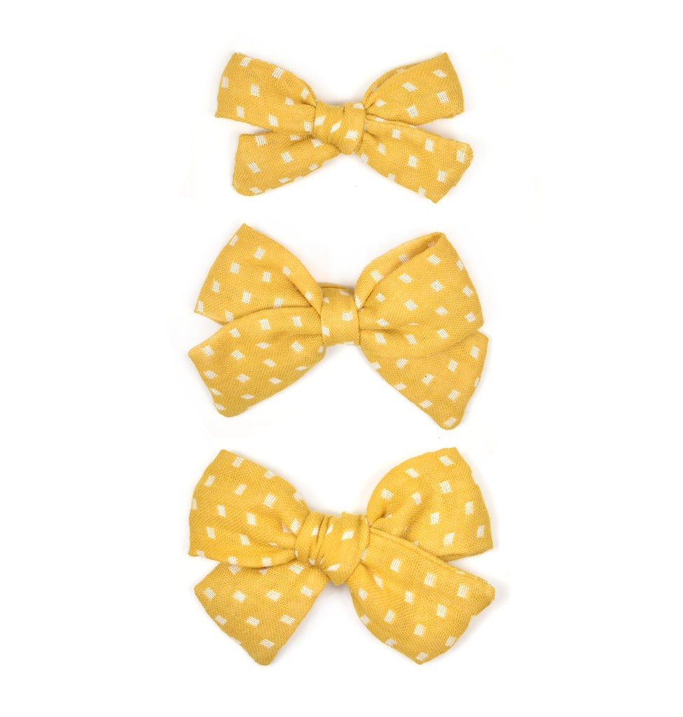 Mustard Dot Linen Bows - Cozy Cottontail