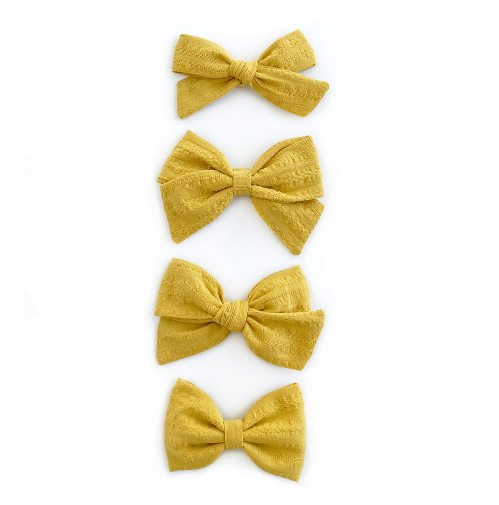 Sunflower Yellow Linen Bows - Cozy Cottontail