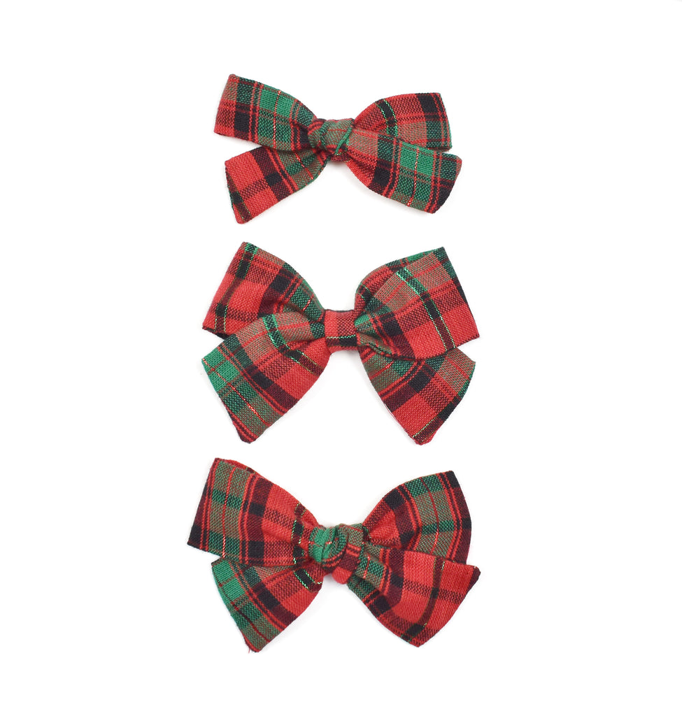 Green + Red Plaid Bows - Cozy Cottontail