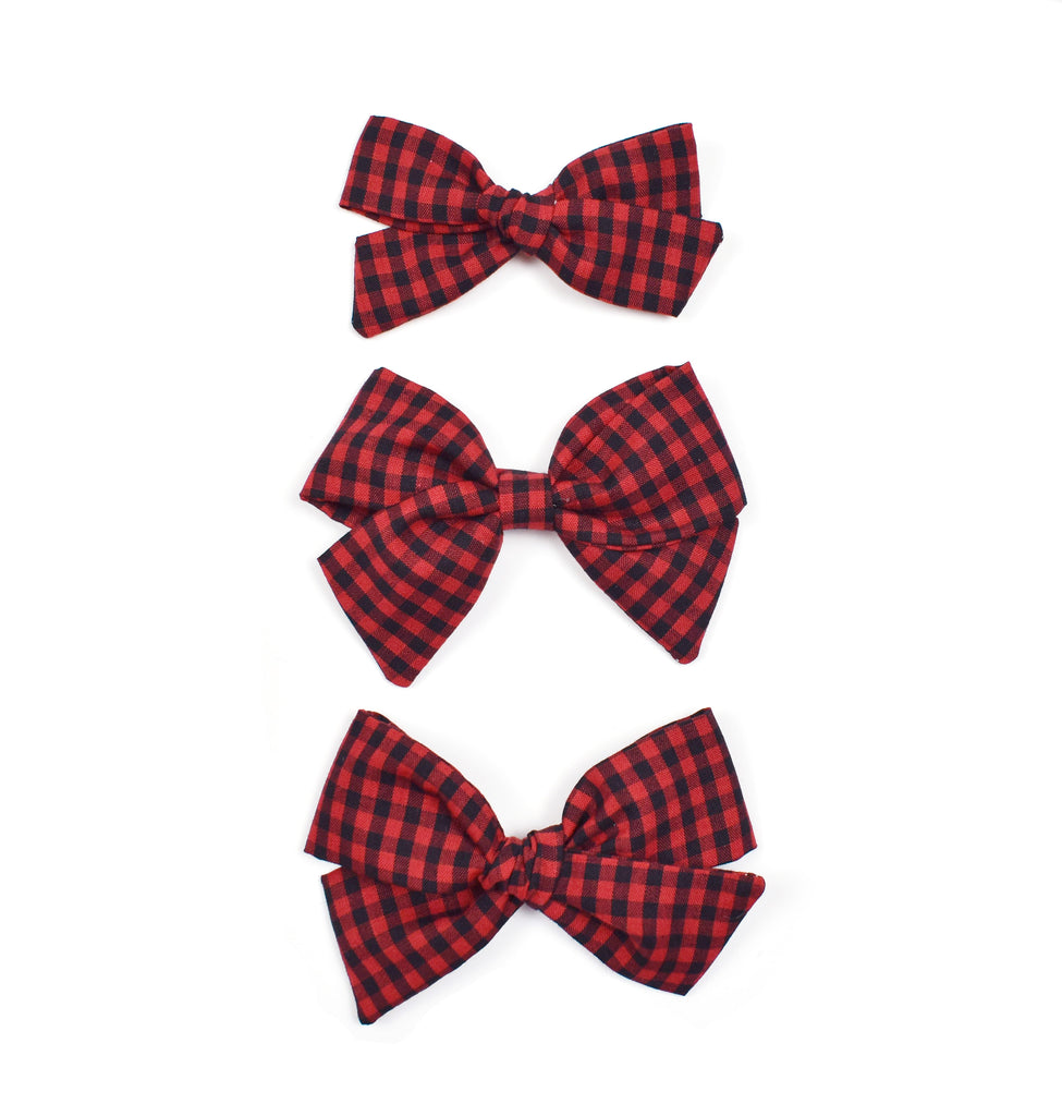 Red + Black Gingham Bows - Cozy Cottontail