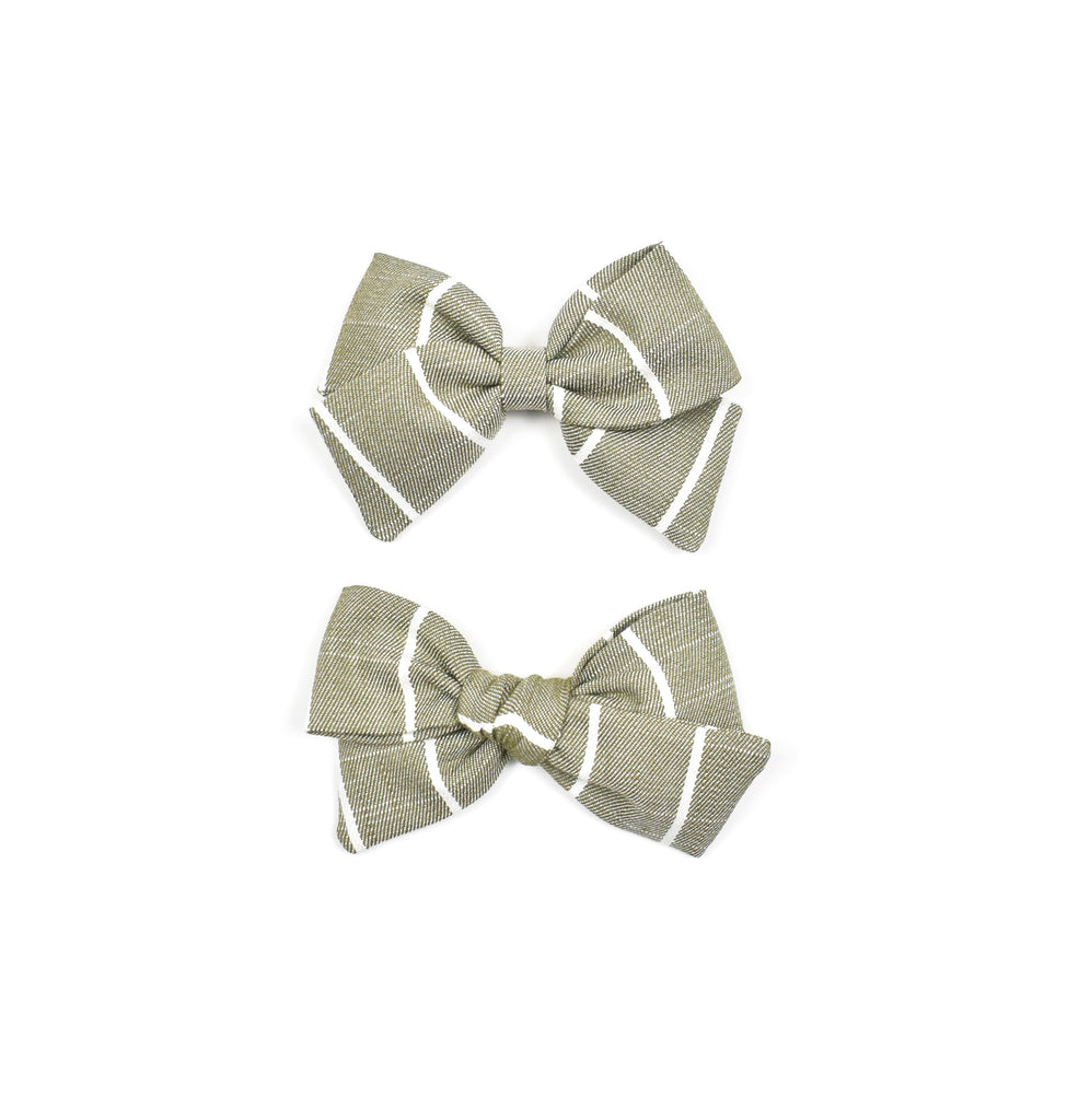 Sage Stripe Bows - Cozy Cottontail