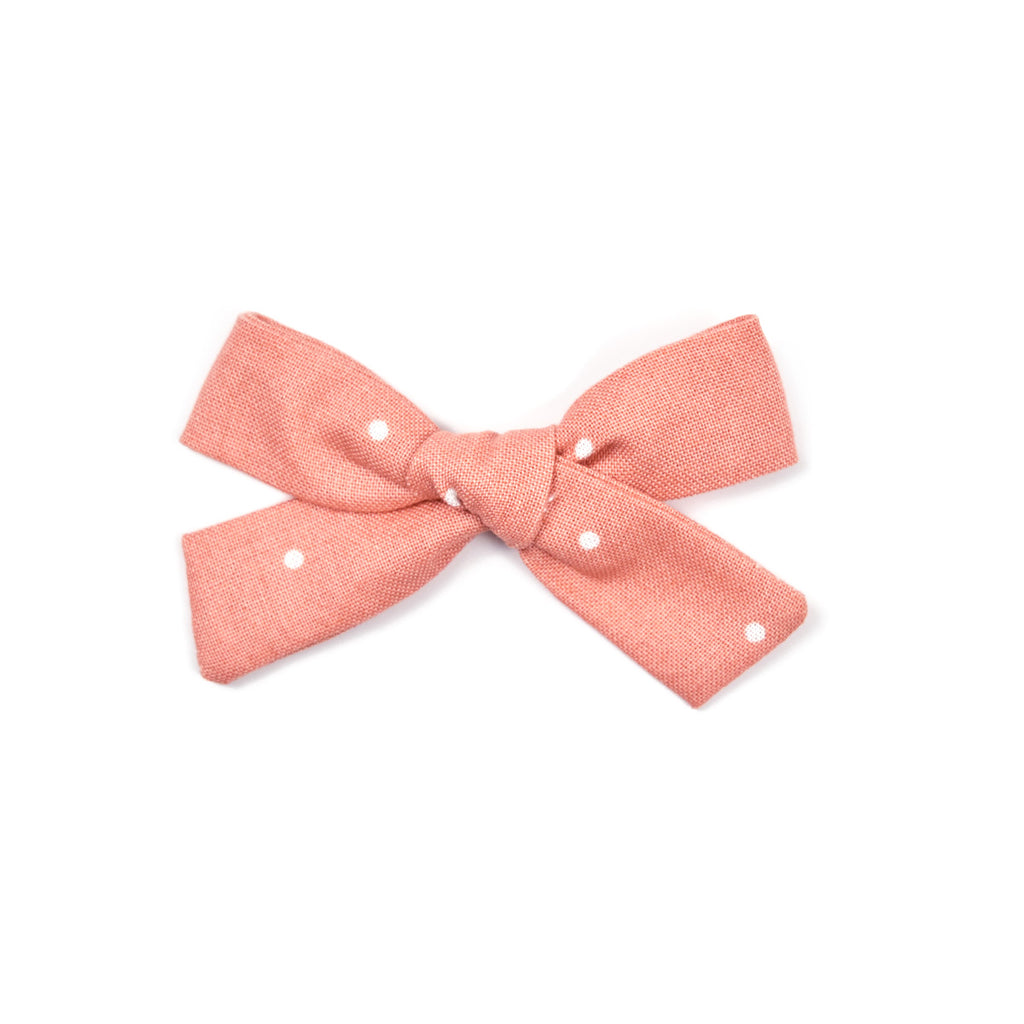 School Girl Bow | Salmon Dot - Cozy Cottontail