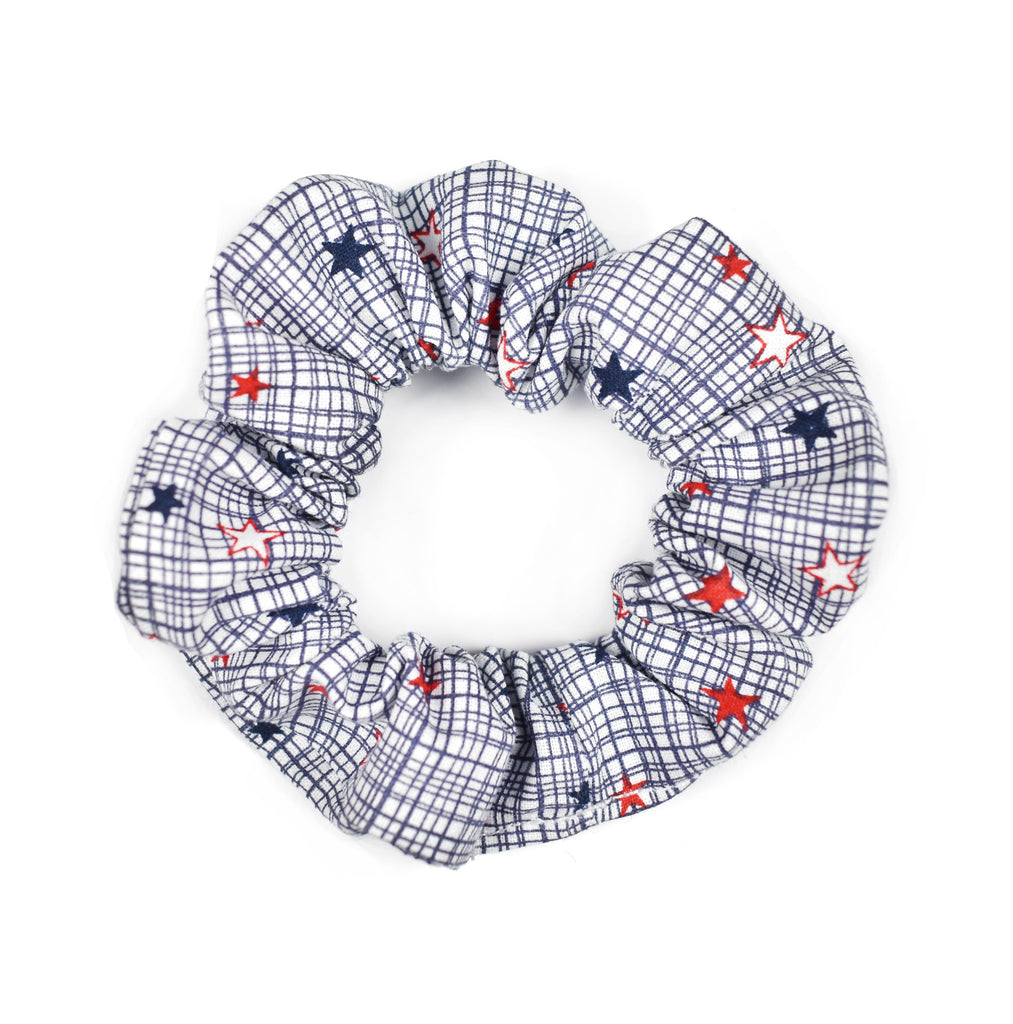 Hair Scrunchie | Red, White, Blue Star - Cozy Cottontail