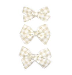 Tan Gingham Plaid Bows - Cozy Cottontail