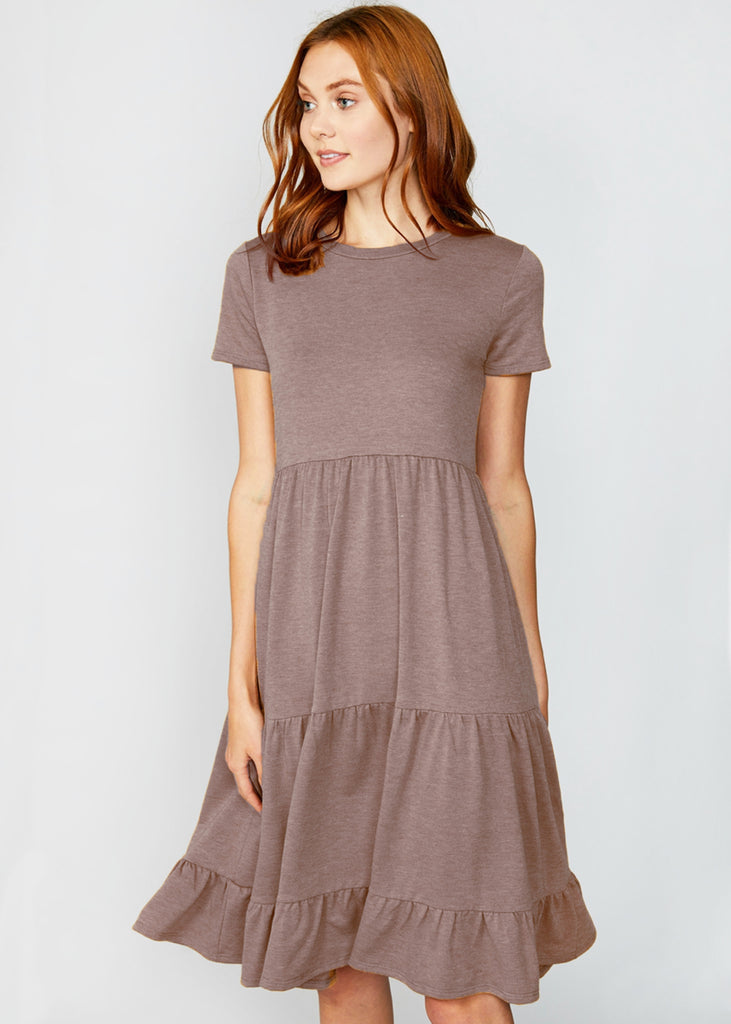 The Monica Tiered Dress | Mocha - Cozy Cottontail