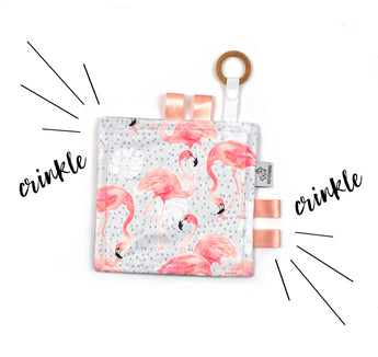 Crinkle Taggy | Watercolor Flamingo - Cozy Cottontail