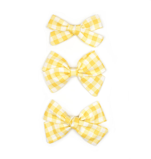 Yellow Gingham Plaid Bows - Cozy Cottontail