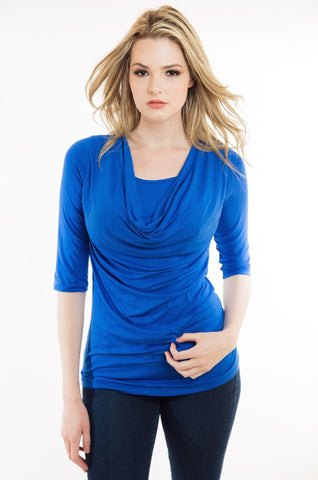Nurture-Elle Cowl Neck Nursing Top - ¾ Sleeve - Nurture-Elle Nursing Apparel  - 1