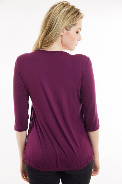 Nurture-Elle Pleated Breastfeeding Top – ¾ Sleeve - Nurture-Elle Nursing Apparel  - 4