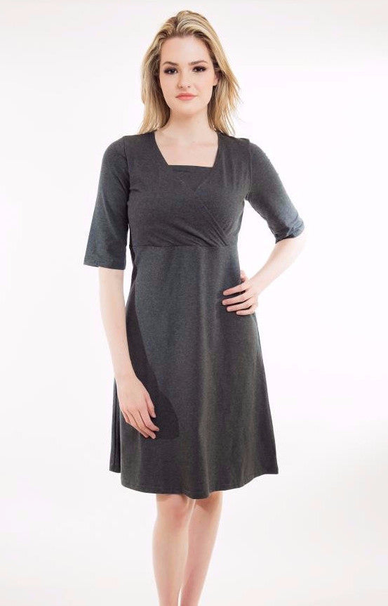 Nurture-Elle Cross Over Dress - Made in Canada - S, L left - Nurture-Elle Nursing Apparel  - 1