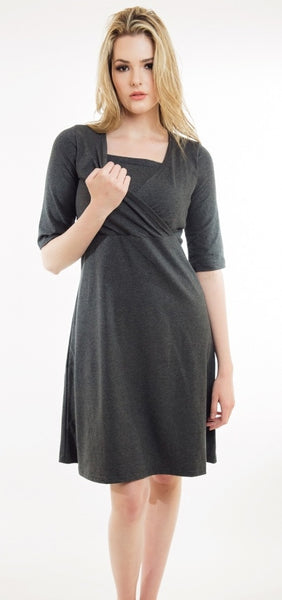 Nurture-Elle Cross Over Dress - Made in Canada - S, L left - Nurture-Elle Nursing Apparel  - 2