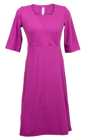 Nurture-Elle Cross Over Dress Magenta - Made in Canada - Nurture-Elle Nursing Apparel  - 1