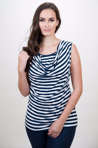 Nurture-Elle Cowl Neck Nursing Top – Stripes - Sleeveless - Nurture-Elle Nursing Apparel  - 1