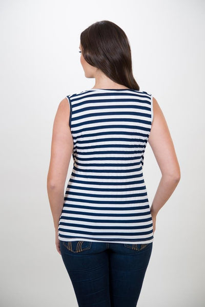 Nurture-Elle Cowl Neck Nursing Top – Stripes - Sleeveless - Nurture-Elle Nursing Apparel  - 4
