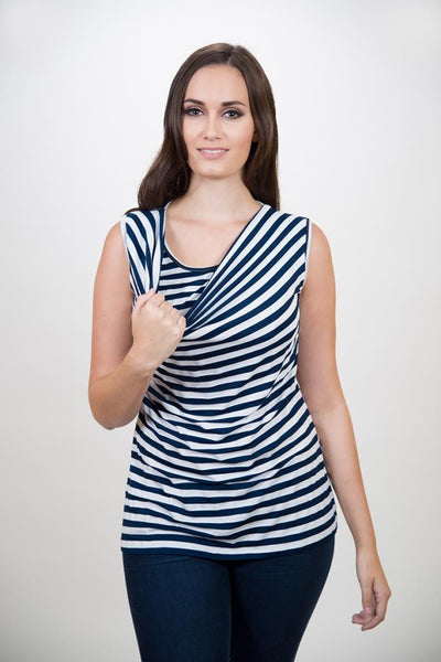 Nurture-Elle Cowl Neck Nursing Top – Stripes - Sleeveless - Nurture-Elle Nursing Apparel  - 5