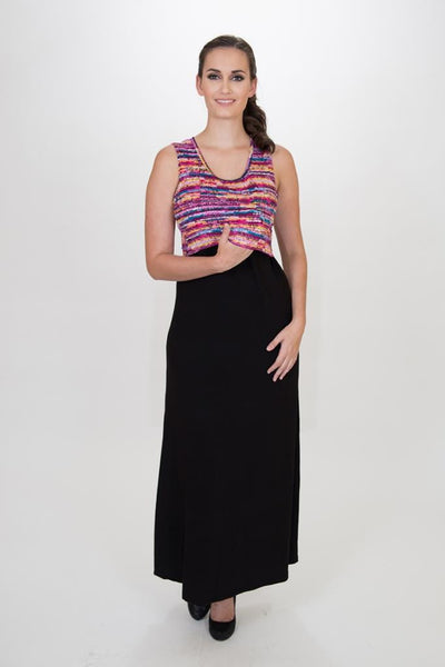 Mariana Maxi dress - Colorful print -  Made in Canada - Nurture-Elle Nursing Apparel  - 3