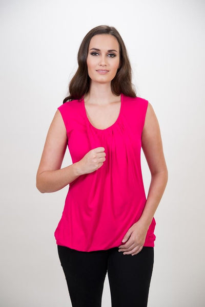 Nurture-Elle Pleated Breastfeeding Top – sleeveless - Nurture-Elle Nursing Apparel  - 3
