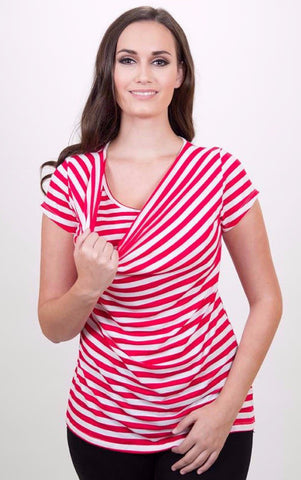 Nurture-Elle Cowl Neck Nursing Top - Stripes- Short Sleeve - Nurture-Elle Nursing Apparel  - 1