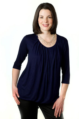 Nurture-Elle Pleated Breastfeeding Top – ¾ Sleeve - Nurture-Elle Nursing Apparel  - 3