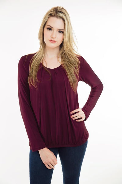 Nurture-Elle Pleated Nursing Top - Long Sleeve