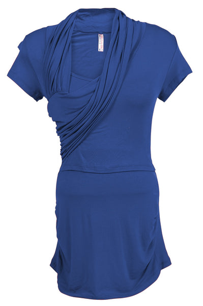 Nurture-Elle Asymmetrical Drape Nursing Top - Short Sleeve. Only XL, XXL left - Nurture-Elle Nursing Apparel  - 6