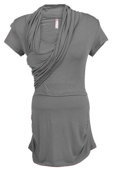 Nurture-Elle Asymmetrical Drape Nursing Top - Short Sleeve. Only XL, XXL left - Nurture-Elle Nursing Apparel  - 7