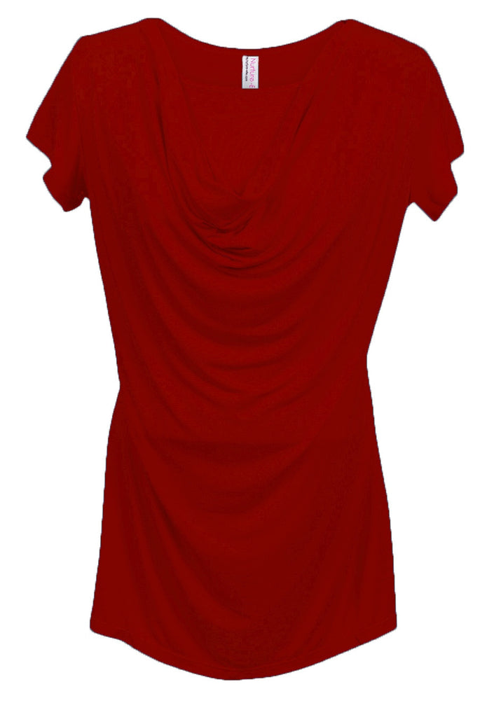 Nurture-Elle Cowl Neck Nursing Top - Short Sleeve - Nurture-Elle Nursing Apparel  - 5