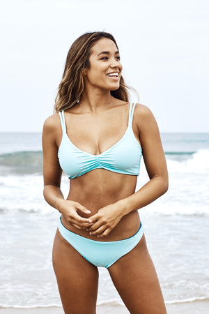 Gina Reversible Fixed Triangle Bikini Top (Aqua/Ocean) - Lagoa Swimwear