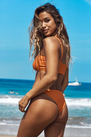 Layla Reversible Cheeky Bikini Bottom (Leaves/Burnt Orange) - Lagoa Swimwear