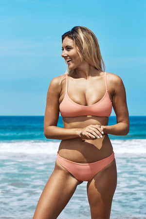 Gosia Reversible Cheeky Bikini Bottom (Coral/Rose) - Lagoa Swimwear