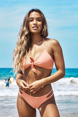 Olivia Reversible Skimpy Bikini Bottom (Coral/Rose) - Lagoa Swimwear