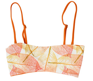 Bella Reversible Bandeau Bikini Top (Leaves/Burnt Orange) - Lagoa Swimwear