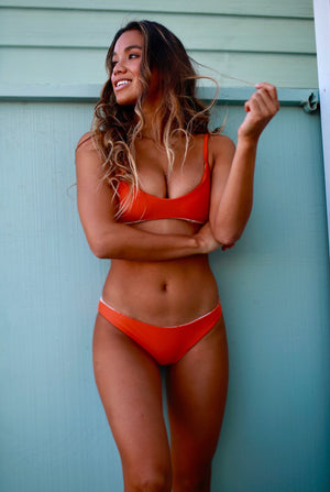 Grace Reversible Scoop Neck Bikini Top (Leaves/Burnt Orange) - Lagoa Swimwear