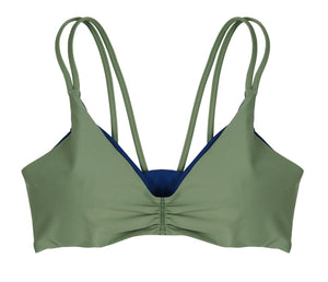 Gina Reversible Fixed Triangle Bikini Top (Moss/Navy) - Lagoa Swimwear