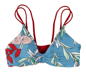 Gina Reversible Fixed Triangle Bikini Top (Scarlet/Floral) - Lagoa Swimwear