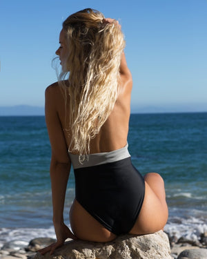 Natalie One Piece (Black/Gray) - Lagoa Swimwear
