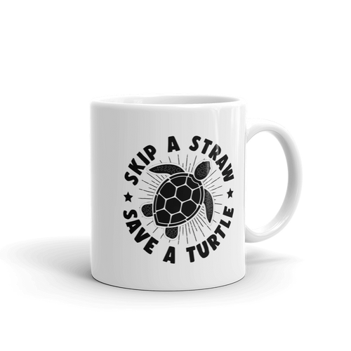 Skip A Straw Save a Turtle - Planet Earth Environmental Gift - Coffee Mug