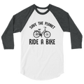 Save The Planet Ride A Bike - 3/4 Sleeve Raglan Shirt