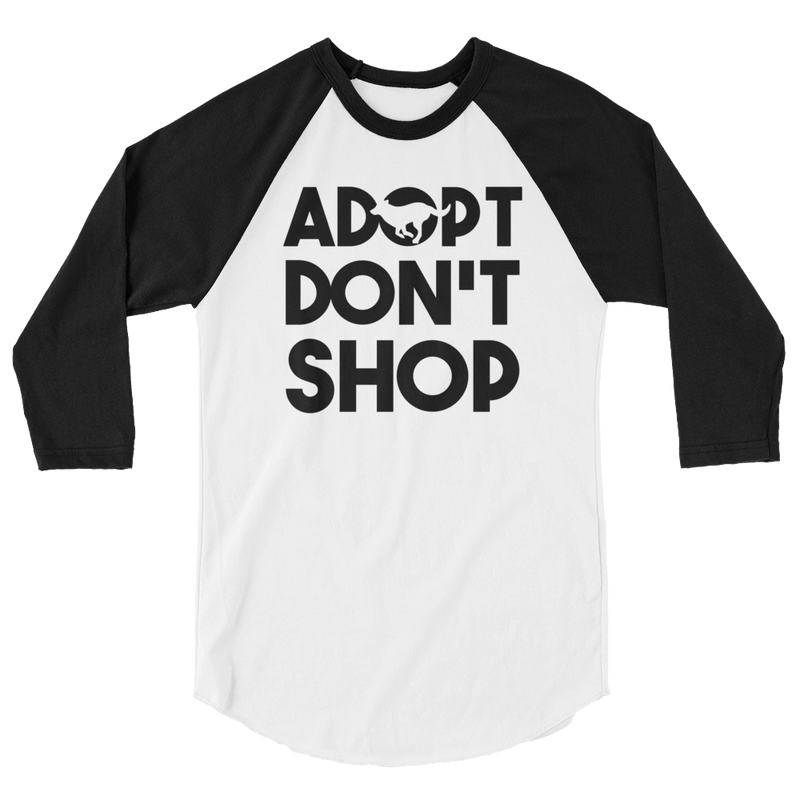 Adopt Don't Shop - Rescue Dog 3/4 Sleeve Raglan Shirt - Cruel World Apparel Shirts Clothing