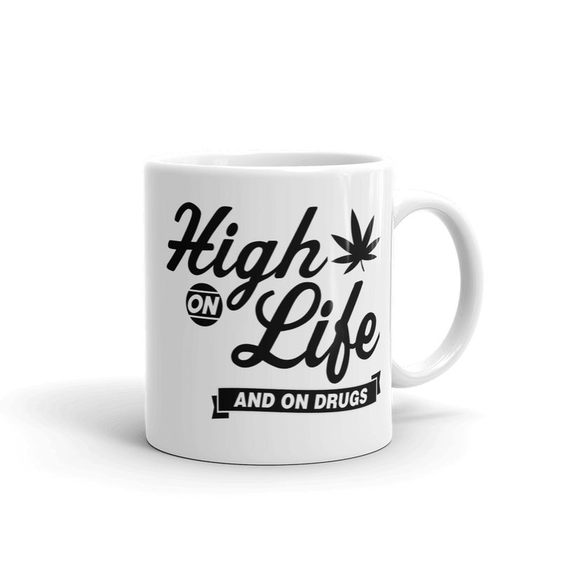 High On Life and Also Drugs - Coffee Mug - Cruel World Apparel Shirts Clothing