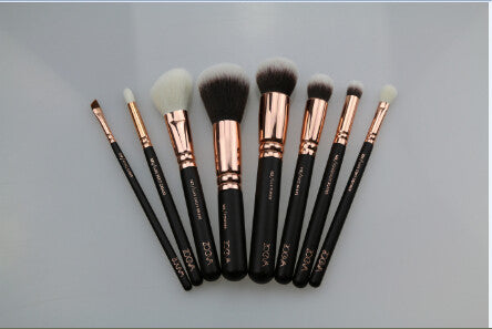 Makeup Brush Set of 8 pieces - Black Rose Golden set